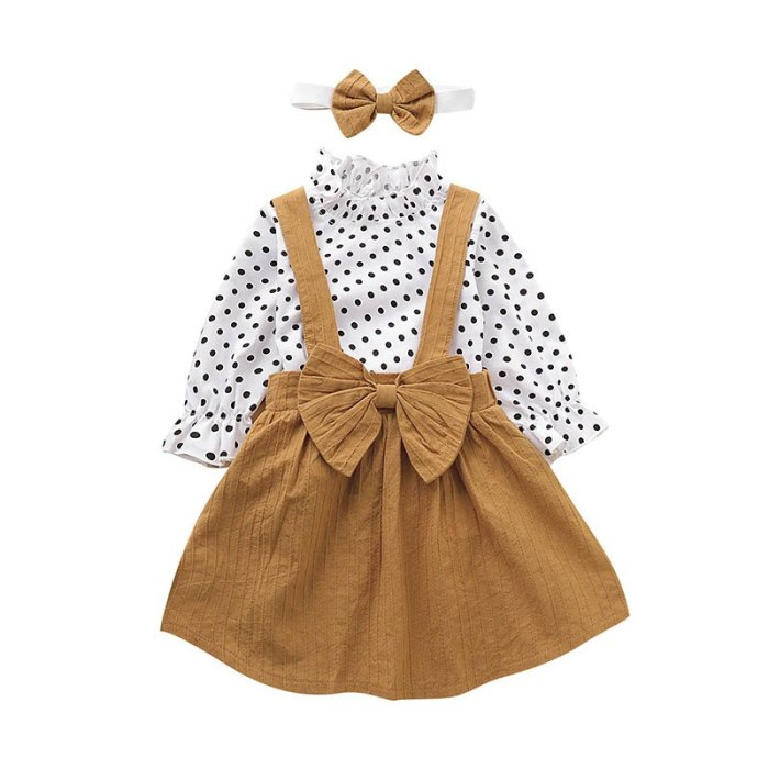 Baby Girls Sets Dot Long sleeve top+strap dress+Headband 3-piece Clothing Suits