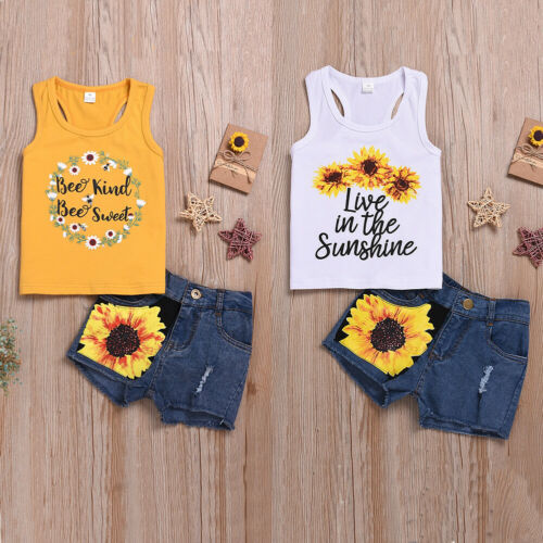 Summer Toddler Sunflower Print Suit For Baby Girl Clothes  Sleeveless T-shirt Outfits