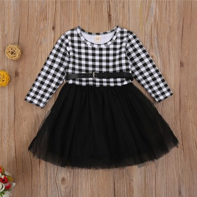 2021 Kids Dresses for Girls Christmas Clothes Party Costume Red Plaid Print Children Girls Elegant Lace Dress Xmas Casual Wear