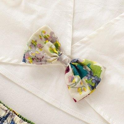 Elegant Toddler Baby Kids Ruffle Fly Sleeve V-neck Tops + Floral Skirt Outfits Set