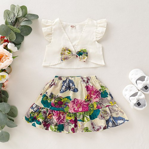 Pudcoco Elegant Toddler Baby Kids Ruffle Fly Sleeve V-neck Bowknotn Tops + Floral Skirt Outfits Set Cotton Clothes