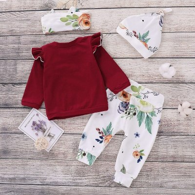 New Baby Jumpsuit with Ruffled DrawsChildren's New Cotton Suit Solid Color Blouse Long-sleeved Four-piece Suit Wine Red 100cm