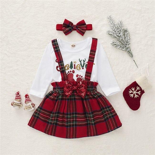 Toddler Baby Girl Christmas Tops Bodysuit + Strap Dress + Headband Xmas Clothes