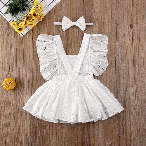 Newborn Baby Girl Clothes Solid Color Sleeveless Flower Ruffle Romper Set