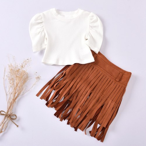 Girls White Crop Top Short Puff Sleeve And Tassel Skirt Toddlers  2 Piece Summer Set