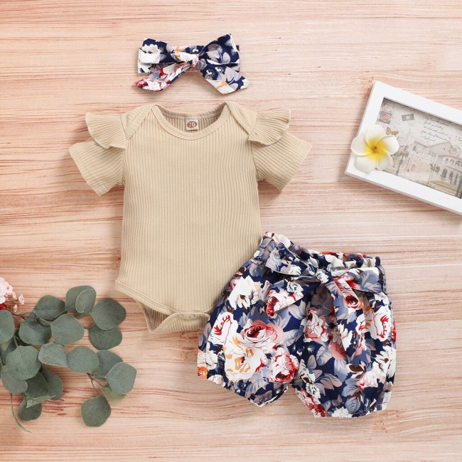 Newborn Kids Baby Girls Outfits Clothes Romper Bodysuit+Flower Print Shorts Set