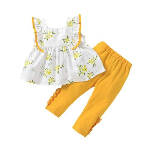 1-5Year Toddler Kids Baby Girls Clothes Ruffle Floral Top Dress Pants Legging Outfit