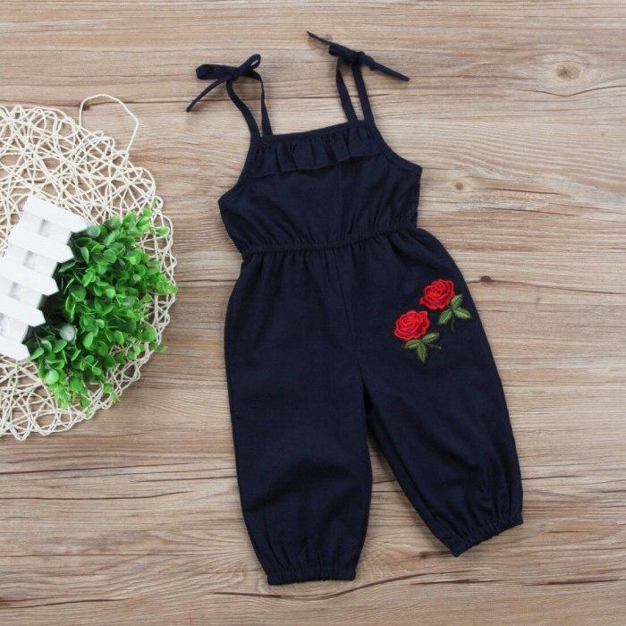 Embroidery Toddler Infant Child Kids Girls Flower Romper Jumpsuit