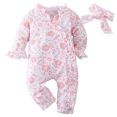 Fashion Pink rabbit print baby girl romper Toddler Long sleeve Cotton Newborn jumpsuit playsuit and headband outfits clothes set