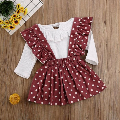 Newborn Sweet Baby Girls Kid Long Sleeve Romper Tops Strap Dress Clothes 2PCS