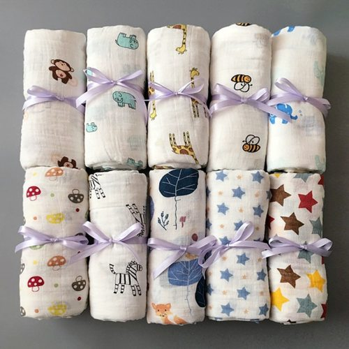 1pc 100% Cotton Newborn Swaddles Soft  Baby Boy Girls Blankets Bath Gauze Infant Wrap Sleepsack Stroller Cover Play Mat