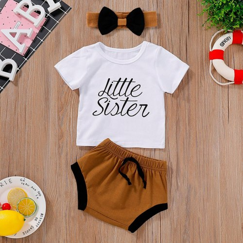 Newborn Baby Girl Romper Jumpsuit Infant Baby Girl Letter T shirt Tops 3PCS Clothes Set