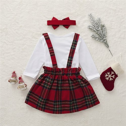 Toddler Baby Girl Christmas Tops Bodysuit + Strap Dress + Headband Xmas Clothes