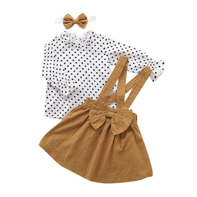 Baby Girls Clothes Sets Autumn Dot Long sleeve top+strap dress+Headband 3-piece kids Children's Clothing Suits new