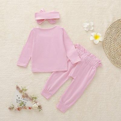 Newborn Baby Girls T-shirt Sleeves Ruffles Sweatshirt+bow-knot Pant Headband 3pcs Pink Baby Girls Sweatshirt Outfit Kids Sets