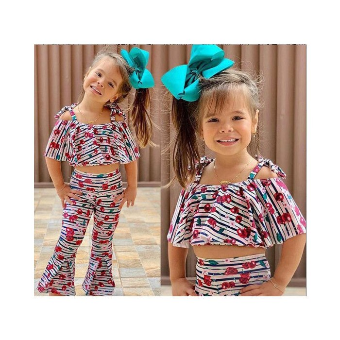 Kids Girls Toddlers Cute Cherry Striped Printing Off-shoulder Cropped Top Flare Pants 2Pcs Outfit