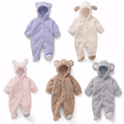 Newborn Baby  Romper Winter Costume Baby Boys Clothes Coral Fleece Warm Baby Girls Clothing Animal Overall Baby Rompers Jumpsuit
