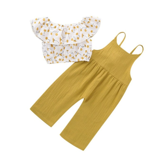 Toddler Baby Girl Kid Off Shoulder Tops+Long Pants 2pcs Summer Clothes Outfit