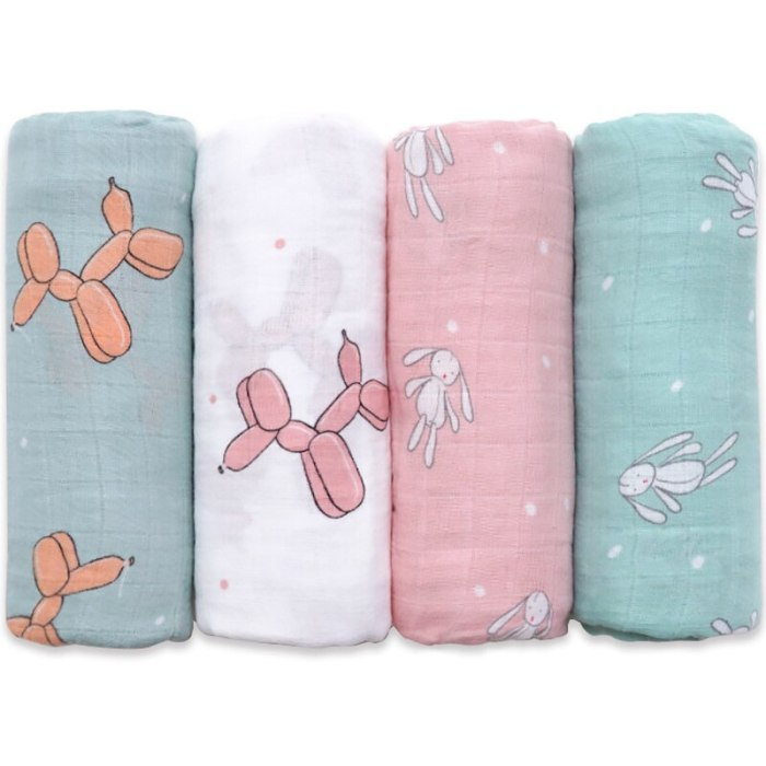 Muslinlife Baby Swaddle Wrap Soft Bamboo Cotton Blanket For Baby Stroller Use Cute Bunny Unicorn Whale Baby Blanket 120*120cm