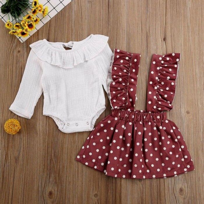 Newborn Sweet Baby Girls Kid Long Sleeve Romper Tops Strap Dress Clothes 2PCS