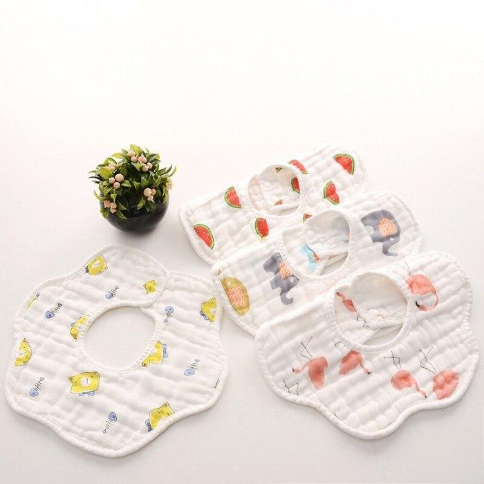 8 Layer Gauze Washed Petals Rotatable Baby Bib Cotton Waterproof Anti-Dirty Muslin Baby Feeding Bibs and Saliva