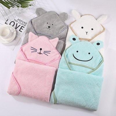 Baby Poncho Bath Towel Infant Bathrobes Velvet 90*90cm Fleece Hood Kids Beach Towels Newborn Baby Hooded Towel Babies Blankets