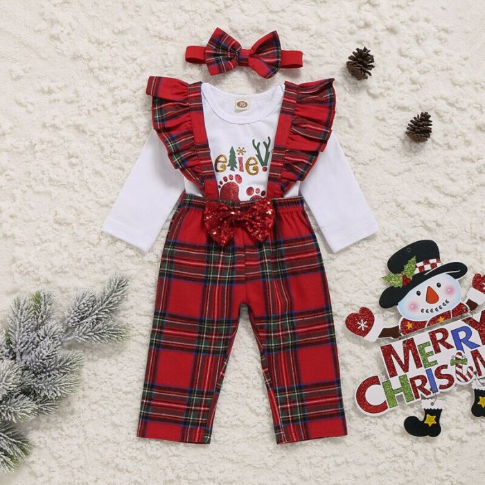 Newborn Baby Girl My First Christmas Tops Romper Bib Pants Hat Outfit