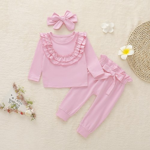 Girl Sweatshirt+bow-knot Pant  3pcs Girls Sweatshirt Outfit Kids Sets