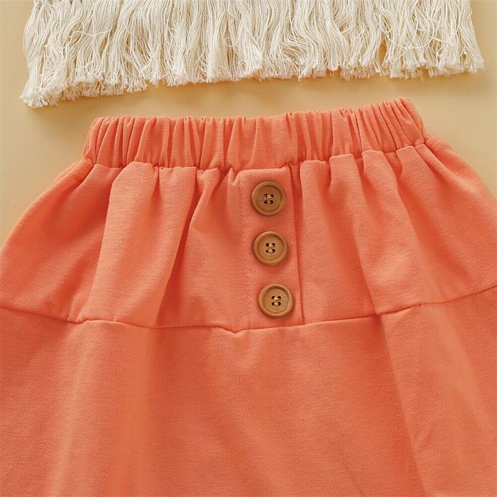 Sweet Flower Big/Little Sister Girl Clothes Sets Outfit Floral Sleeveless Tassel Top+A-Line Solid Skirt