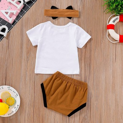 Newborn Baby Girl Romper Jumpsuit  Newborn Infant Baby Girl Letter T shirt Tops Shorts Headband 3PCS Clothes Set