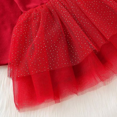 Xmas Kids Baby Girl 12M-4T Christmas Pageant Tutu Lace Dress Princess Clothes Set