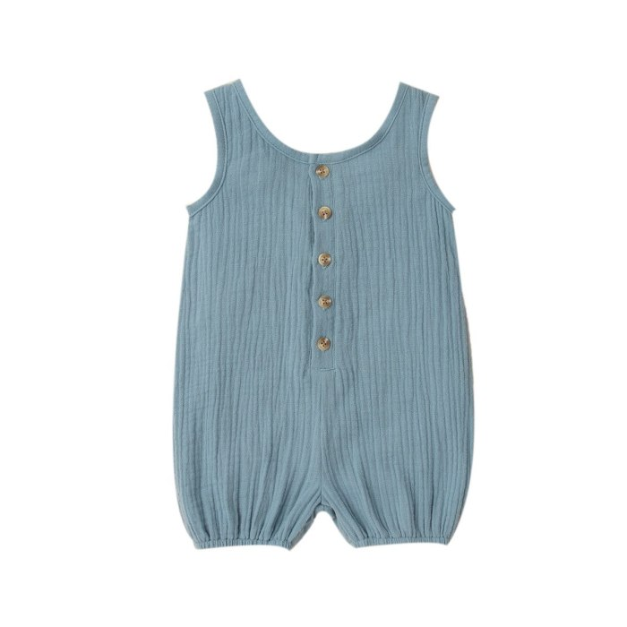 2020 Baby Summer Clothing Newborn Baby Boys Girls Solid Cotton Linen Romper Outfits