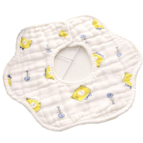 8 Layer Gauze Washed Petals Rotatable Baby Bib Cotton Waterproof Anti-Dirty Muslin Baby Feeding Bibs and Saliva