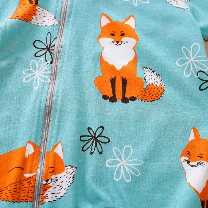 Newborn Baby Boy Girl Infant Hooded Cartoon Fox Print Romper Jumpsuit Playsuit Autumn Winter New Born Baby Clothes 0-24M