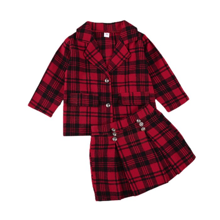 Autumn Newborn Baby Girls Red Plaid Clothes Sets Girl's Lapel Long Single Breasted Jacket  Suit