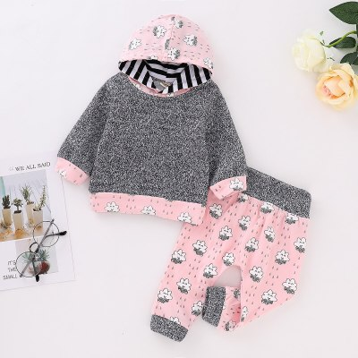 Autumn And Winter Kids 2-7 T Children swear Hooded Top + Pants 2 Pieces Warm Set for girl