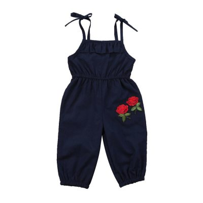 New Brand Embroidery Toddler Infant Child Kids Girls Flower Romper Jumpsuit Playsuit Sleeveless Outfit Clothes 1-6T