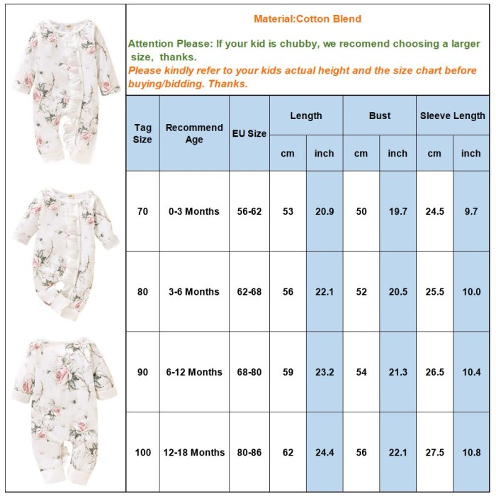 Baby Girls Romper Autumn Baby girl Cotton print ruffled long-sleeved O-Neck Clothes Outfits