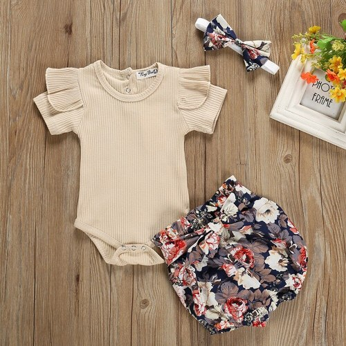 3Pcs Cute Baby Girl Clothing Newborn Short Sleeve Bodysuit and Pants Shorts Summer Outfit Set