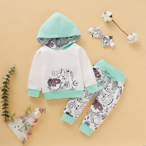 Newborn Baby Girl Sets Autumn Soft Cute Animal Print Hooded Top Pant Headband Three Pieces Sets