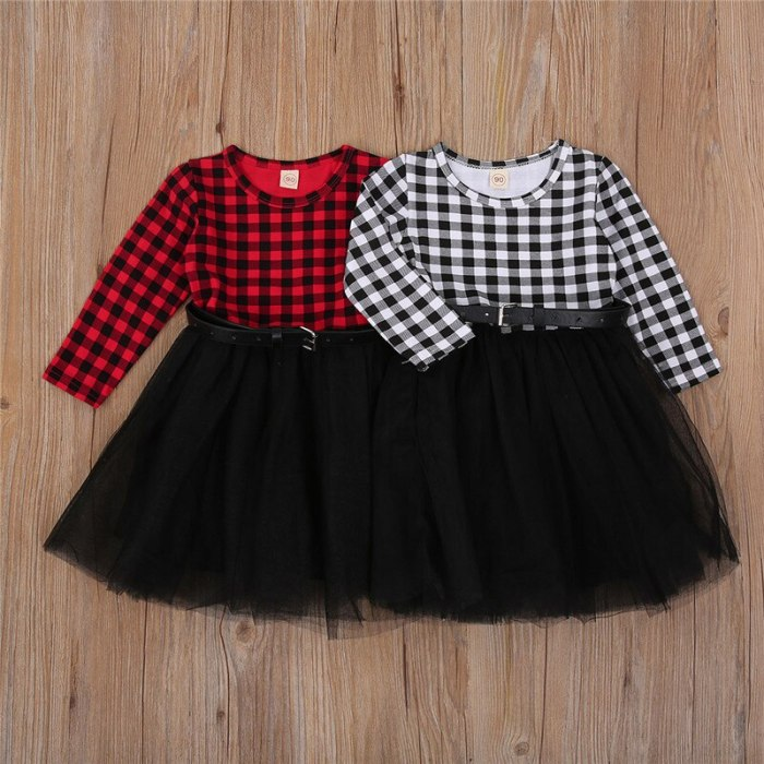2021 Kids Dresses for Girls Christmas Clothes Party Costume Red Plaid Print  Lace Dress