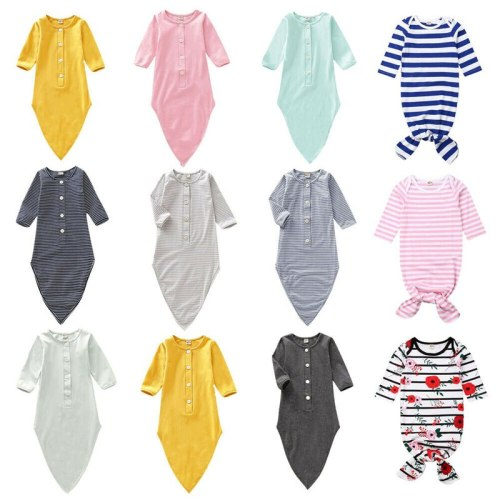 Newborn Infant  Solid Sleep Clothes Sleeping Bag Sleepwear Long Sleeve Solid Cotton Jumpsuit