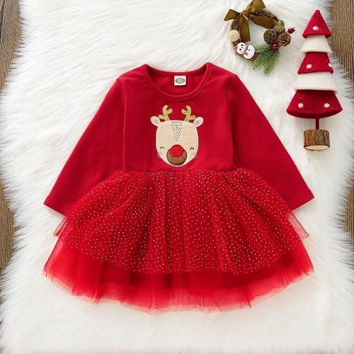 Xmas Kids Baby Girl 12M-4T Christmas Pageant Tutu Lace Dress Princess Clothes Set