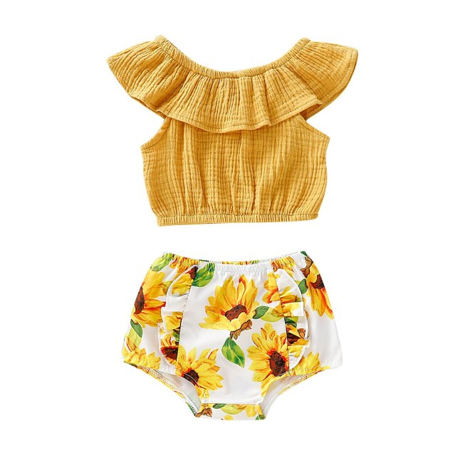 0-24M   Newborn Baby Girl Cold Shoulder Top Tee+PP Pants Shorts Outfits Clothes Set