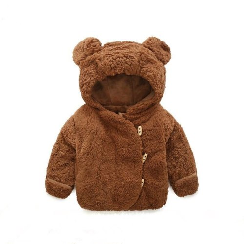 Boys Girls Autumn Winter Plus Velvet Coat Baby Soft Thicken Hooded Warm Jacket Kids Fur Comfortable Cartoon Bear Top 0-24M