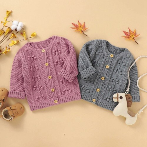 NewBorn Baby Coat Boys Girls Cardigan Autumn Spring Knitted Sweater Children Long Sleeves Sweater Outwear