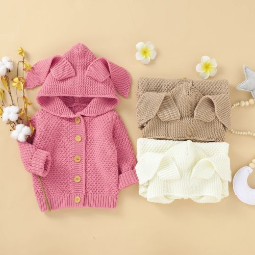 children's coat baby jacket Newborn Infant Baby Girl Boy Winter Jacket Warm Coat Knit Outwear Hooded Sweater