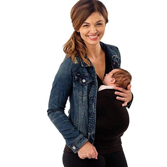 Mommy Babysitting T-shirt Sleeveless Solid Parenting Baby Carrier Mother Kangaroo T Shirt