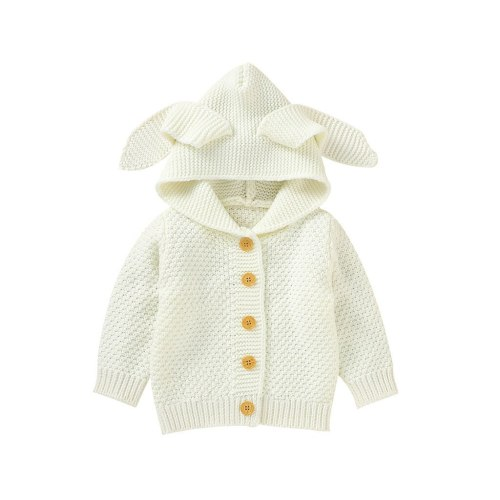 Newborn Infant Baby Girl Boy Winter Jacket Warm Coat Knit Outwear Hooded Sweater