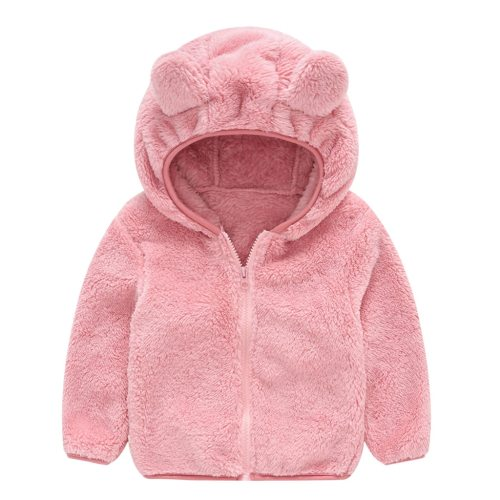 Autumn Winter Clothes For Toddler Cute Ear Zipper Solid Thick Hooded Coat
